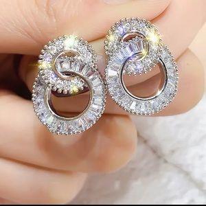 NEW Bling 925 Sterling Silver Rhinestone Earrings